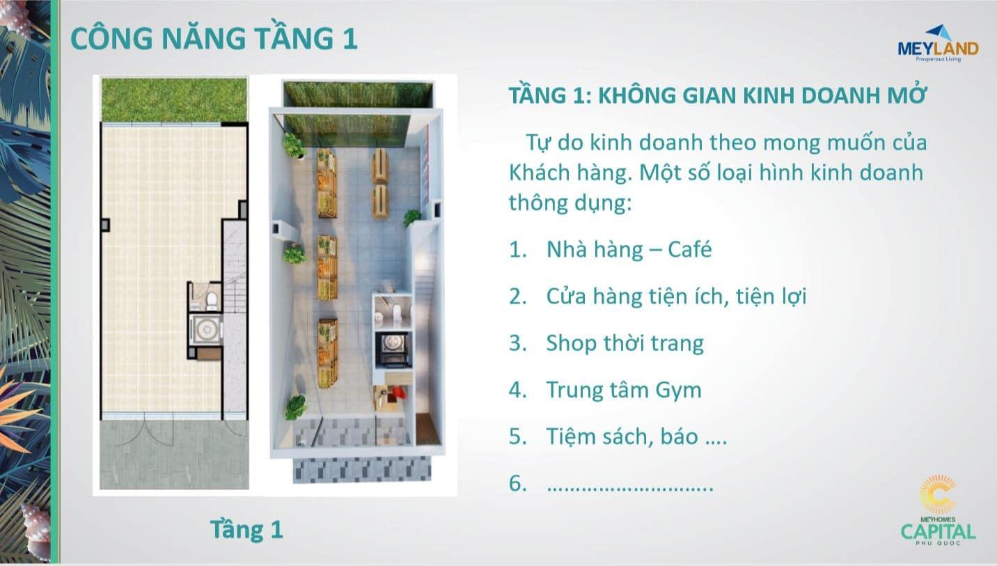 Thiết kế tầng 1 - Công năng sử dụng của căn MeyHomes Capital Phú Quốc