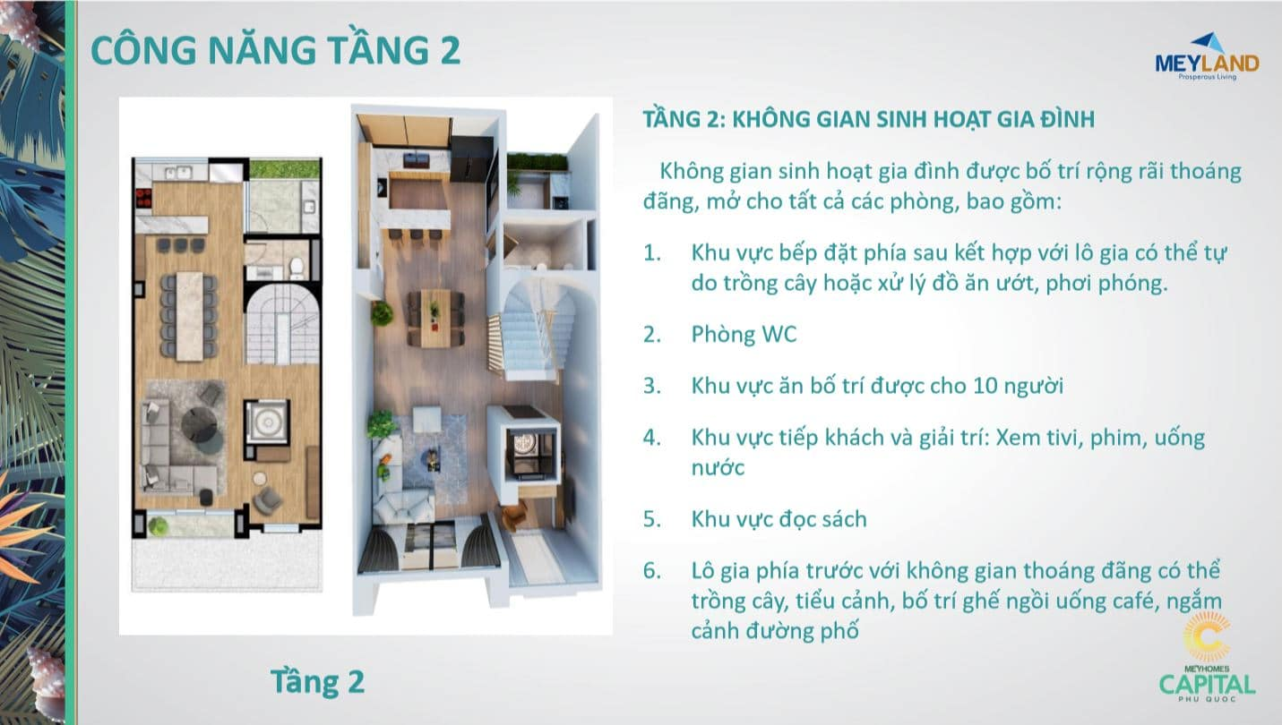 Thiết kế tầng 2 - Công năng sử dụng của căn MeyHomes Capital Phú Quốc