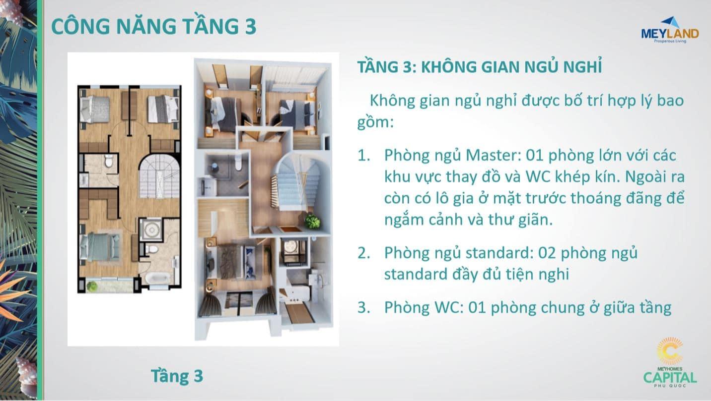 Thiết kế tầng 3 - Công năng sử dụng của căn MeyHomes Capital Phú Quốc