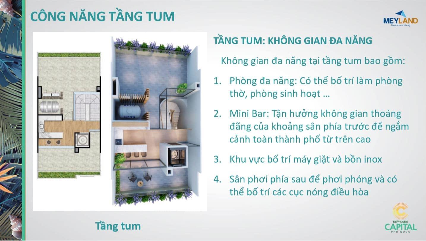 Thiết kế tầng TUM - Công năng sử dụng của căn MeyHomes Capital Phú Quốc